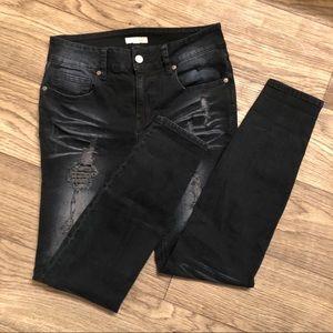 Dark Blue Distressed GB Skinny Jeans